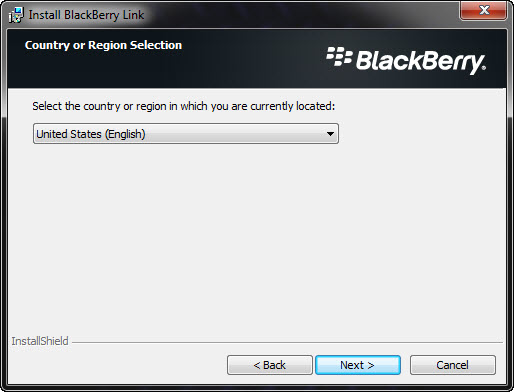 BlackBerry Link Country or Region Selection