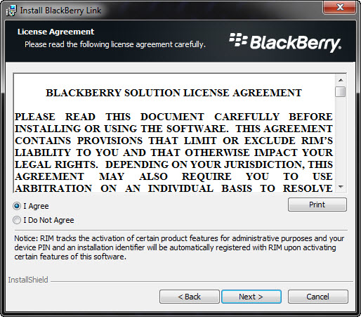 BlackBerry Link License Agreement