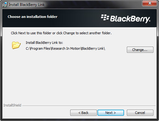 BlackBerry Link Choose an Installation Folder