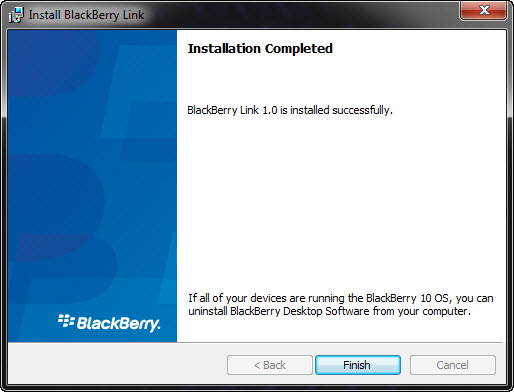 BlackBerry Link Installation Completed