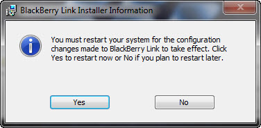 BlackBerry Link Restart your System