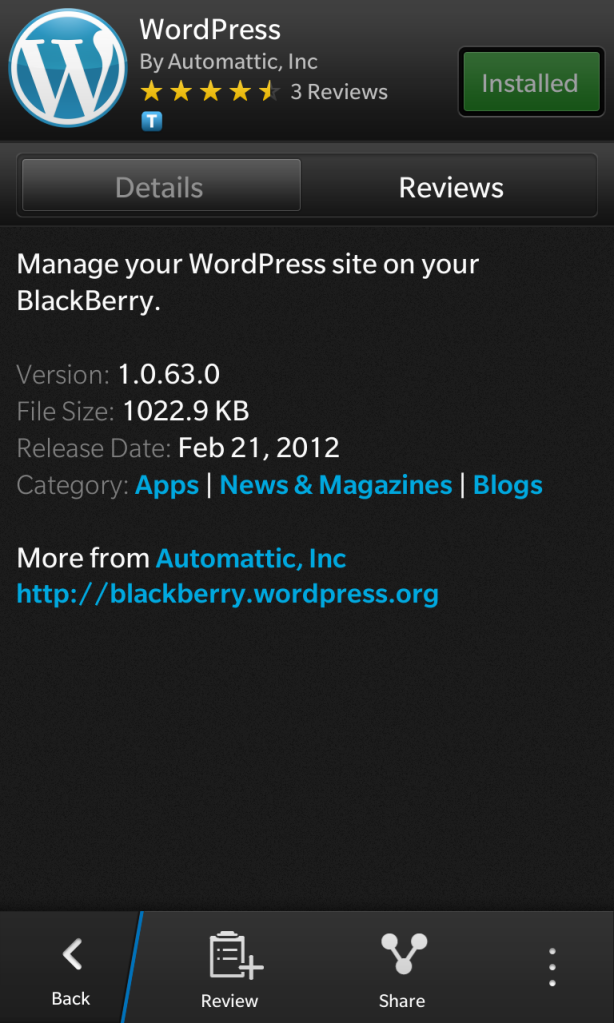 Wordpress for BlackBerry installed