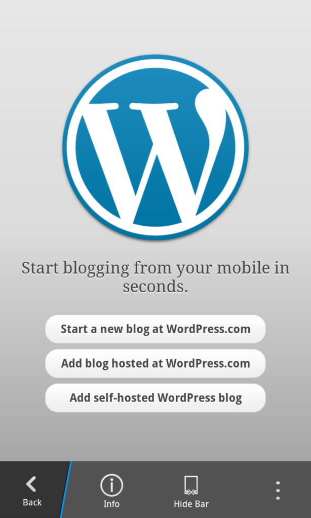 Wordpress for BlackBerry 10 main screen
