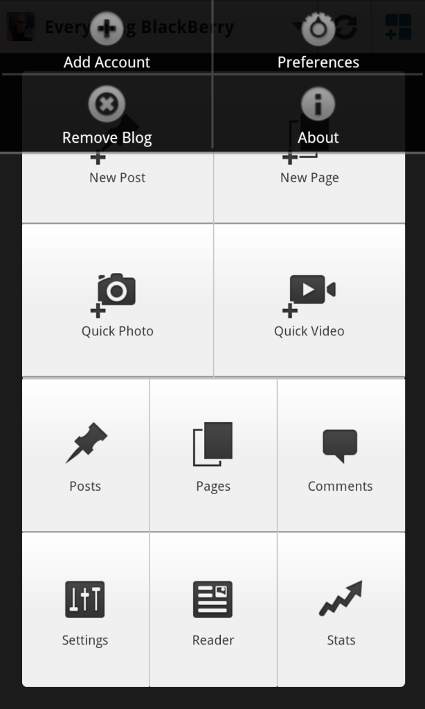 Wordpress for BB10 Preferences