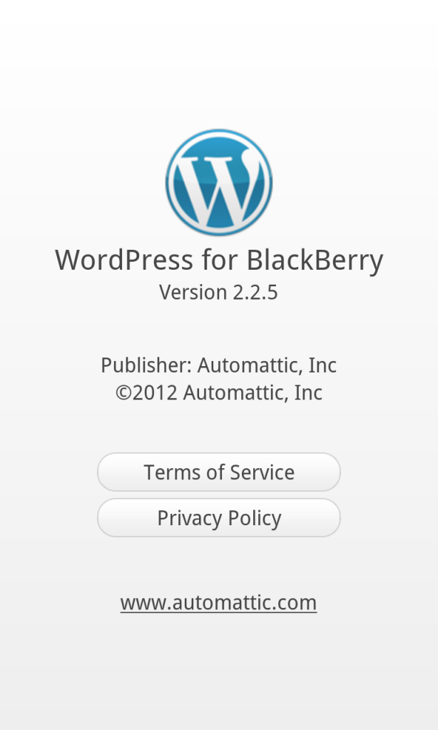 Wordpress for BlackBerry 2.2.5