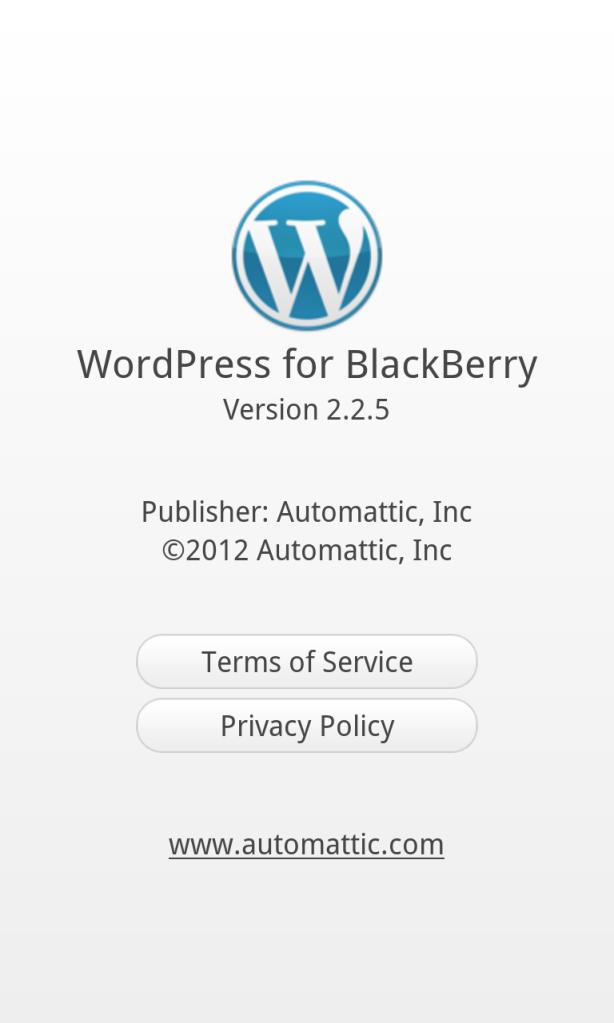 Wordpress for BlackBerry 2.2.5