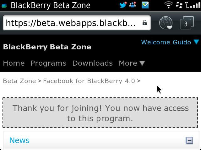 Facebook via BB Beta Zone - Accept Program