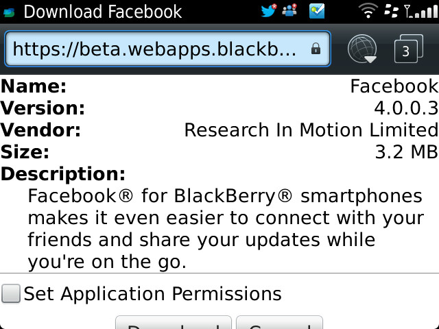 Facebook for BlackBerry 4.0.0.3 beta download