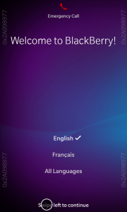 Welcome Screen BB10