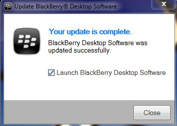 BB Desktop Manager software update complete