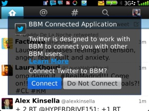 Twitter for BB 4.1 Connect to BBM