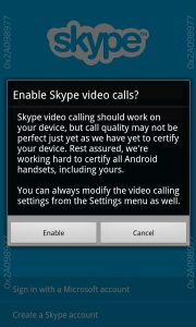 Skype Enable video calls