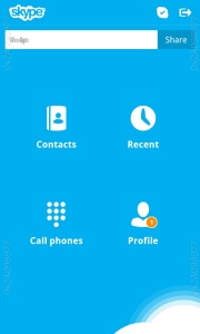 Skype main screen