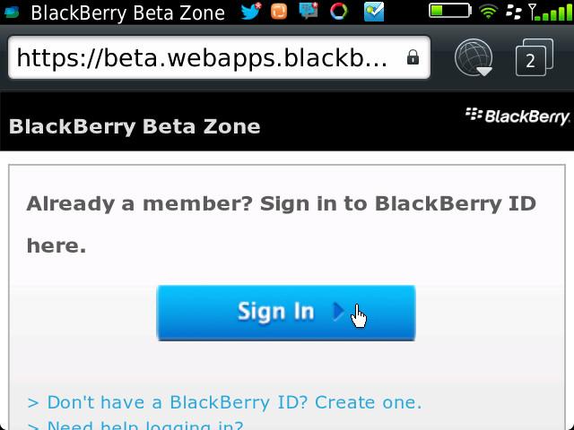 Twitter for BlackBerry 4.1.0.8 Sign-In