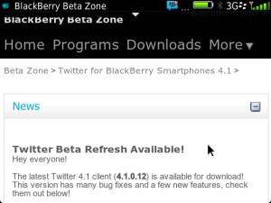 Twitter for BB 4.1.0.12 Refresh via Beta Zone