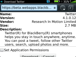 Twitter for BB 4.1 Download now