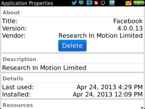 Facebook for BB 4.0.0.13 via Bold 9900