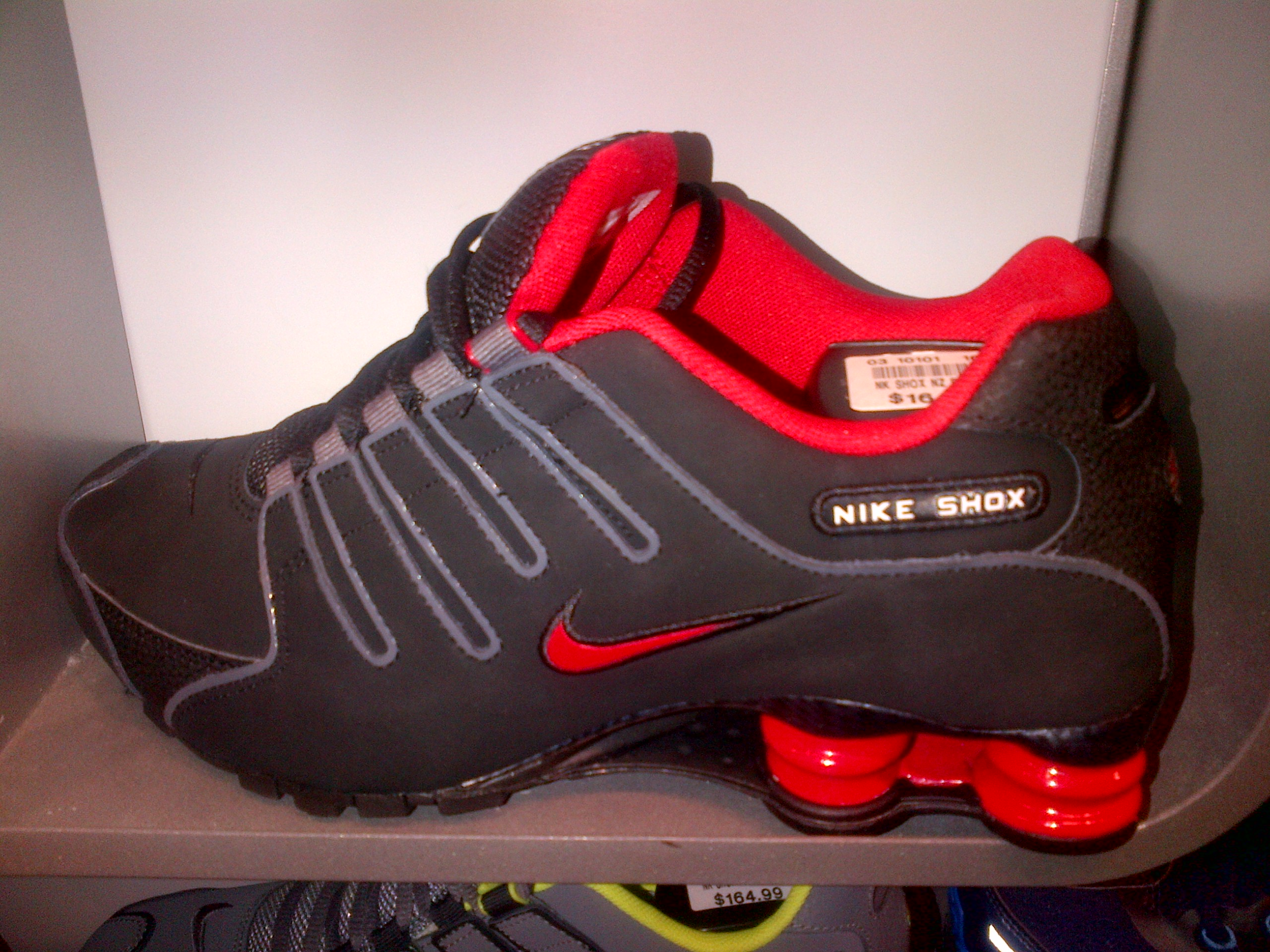 blue and red nike shox