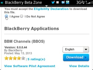 Installed BBM Channels (Beta) via BlackBerry Bold 9900 OS7